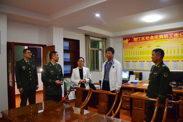 梅江区委常委李思平、罗红葆、王增文率队莅临梅江大队调研指导工作